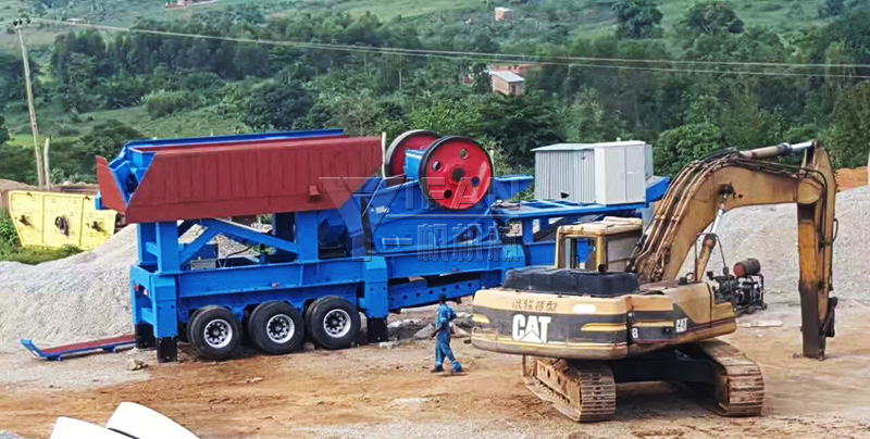 Uganda 250tph granite mobile crushing production line